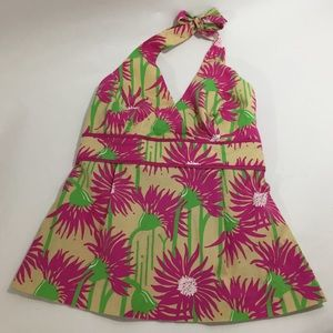 Lilly Pulitzer Colorful Floral Print Halter Top